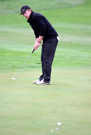 CU's Beau Schoolcraft putts during the second day of the Mark Simpson Colorado Invitational at the Colorado National Golf Club in Erie, Colorado September 25, 2012.  DAILY CAMERA/ MARK LEFFINGWELL