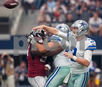 Dallas Cowboys quarterback Brandon Weeden passes the ball during their game against the Atlanta Falcons at AT&T Stadium in Arlington Sunday Sept. 27, 2015.  (Sarah A. Miller/Tyler Morning Telegraph)
