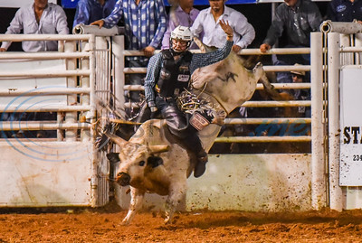 A bull rider attempts eight seconds during the 2019 Nicky Wheeler Memorial Bull Riding event in Jacksonville. Forty bull riders competed in the event which took place on Saturday, September 28. (Jessica T. Payne/Tyler Morning Telegraph)