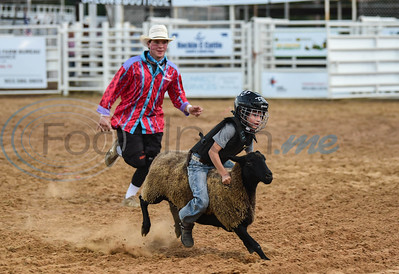 "A young boy holds on tight during a mutton busting event at the 2019 Nicky Wheeler Memorial Bull Riding. The event, which is associated with the Tuff Hedeman Break Out Tour, also featured ""Backflip"" the clown. (Jessica T. Payne/Tyler Morning Telegraph)"