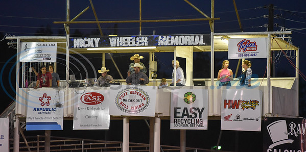 The announcers box is lit up during the 2019 Nicky Wheeler Memorial Bull Riding on Saturday, September 28. The event took place in Jacksonville where the proceeds fund scholarships for Cherokee County youth involved in 4-H and FFA. (Jessica T. Payne/Tyler Morning Telegraph)