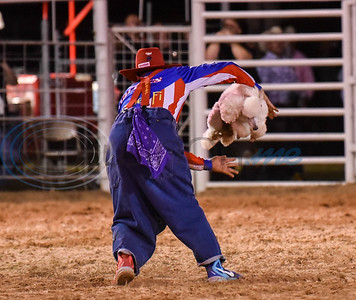 """Backflip"" the clown performs a trick with his dog at 2019 Nicky Wheeler Memorial Bull Riding on Saturday, September 28. The event took place in Jacksonville where the proceeds fund scholarships for Cherokee County youth involved in 4-H and FFA. (Jessica T. Payne/Tyler Morning Telegraph)"