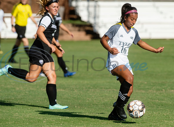 Tyler Junior College's Natalie Martinez dribbles the ball during their soccer match against Jacksonville College on Tuesday Sept. 3, 2019 at Pat Hartley Field.  (Sarah A. Miller/Tyler Morning Telegraph)