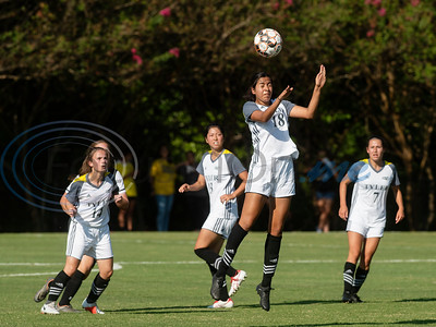 Tyler Junior College's Alexia Moreira heads the ball during their soccer match against Jacksonville College on Tuesday Sept. 3, 2019 at Pat Hartley Field.  (Sarah A. Miller/Tyler Morning Telegraph)