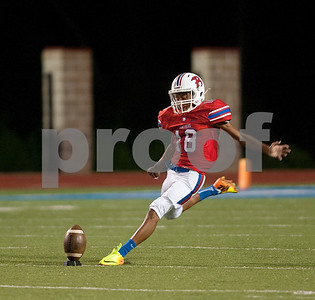 Bullard's Will McCowin makes a kick in the first half of their game at home against Brownsboro Friday night Sept. 4, 2015.  (Sarah A. Miller/Tyler Morning Telegraph)