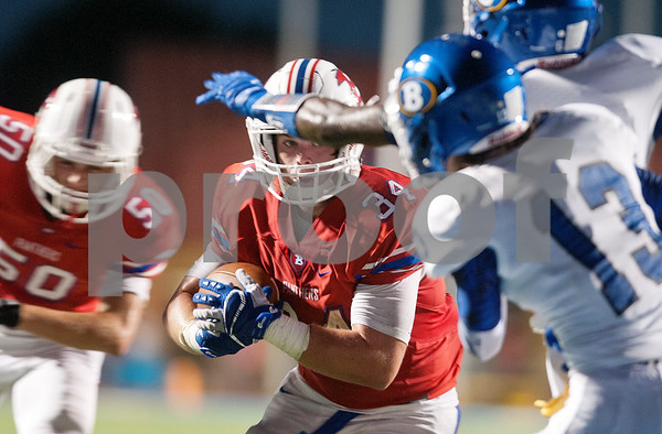 Bullard's Brooks Parham carries the ball in the first half of their game at home against Brownsboro Friday night Sept. 4, 2015.  (Sarah A. Miller/Tyler Morning Telegraph)
