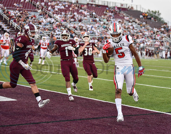 Joseph McGowan (5) runs in for the extra point in a game against Athens on Friday, September 6. The Eagles traveled to Athens where they lost 28-16. (Jessica T. Payne/Tyler Morning Telegraph)