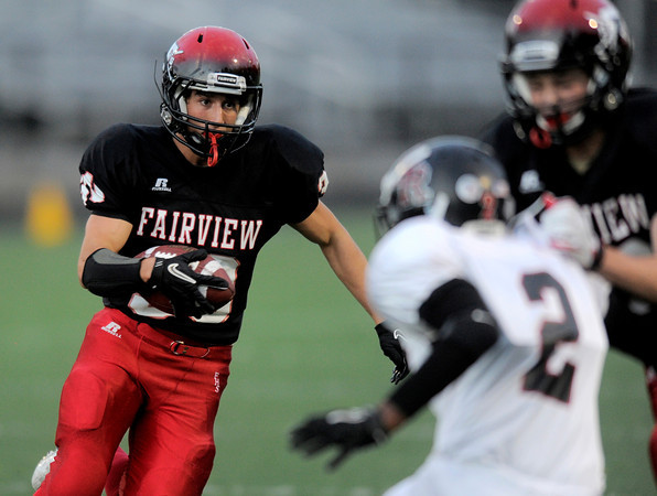 Fairview's Ben Meyer runs for a touch down against Rangeview during their football game at Recht Field in Boulder, Colorado September 8, 2011.   CAMERA/Mark Leffingwell