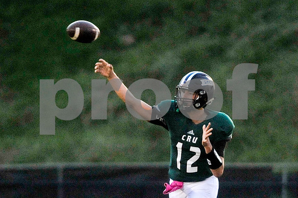 Bishop T.K. Gorman quarterback Jake Smith (12) throws the ball during a high school football game at Bishop T.K. Gorman Catholic High School in Tyler, Texas, on Friday, Sept. 8, 2017. (Chelsea Purgahn/Tyler Morning Telegraph)