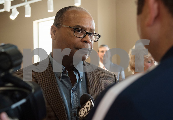 Former NFL player Michael Singletary is interviewed by local media during a VIP reception held Friday Sept. 8, 2017 in Tyler, Texas. The new center, which is aimed to help former professional athletes, is located inside the Sports Medicine and Therapy Services Department of Texas Spine and Joint Hospital.   (Sarah A. Miller/Tyler Morning Telegraph)