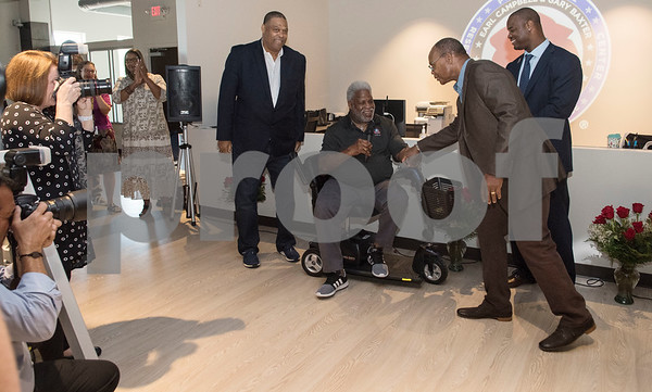Former NFL players Robert Brazile, Earl Campbell, Michael Singletary and Gary Baxter attend the VIP reception for the Project Rose Research Institute for Sports Science held Friday Sept. 8, 2017 in Tyler, Texas. The new center, which is aimed to help former professional athletes, is located inside the Sports Medicine and Therapy Services Department of Texas Spine and Joint Hospital.   (Sarah A. Miller/Tyler Morning Telegraph)