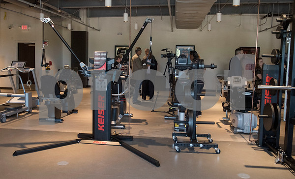 Exercise equipment is pictured in the Project Rose Research Institute for Sports Science during a VIP reception held Friday Sept. 8, 2017 in Tyler, Texas. The new center, which is aimed to help former professional athletes, is located inside the Sports Medicine and Therapy Services Department of Texas Spine and Joint Hospital.  (Sarah A. Miller/Tyler Morning Telegraph)