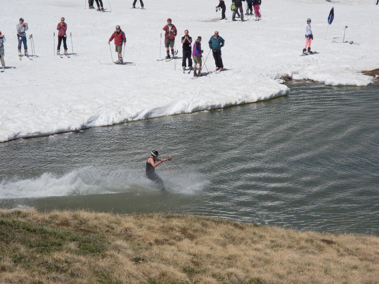 Skiing the pond