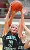 MBA Select's #3, Nicole Konieczny, battles to pull down rebound. Photo by Ned Jilton II