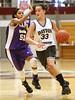 Dayton #33 Kathryn Westbeld dribbles down the court as Georgia #51 Brianna Cummings follows close. Photo by Erica Yoon