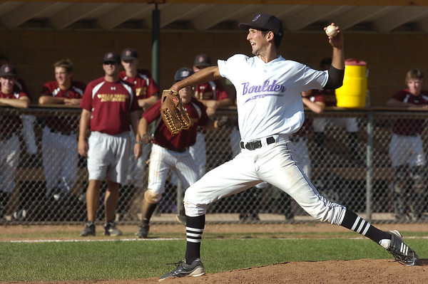 Boulder Eagles Pitcher #4 Drew Noolas throws to the plate during their Legion A baseball against the Boulder Wells Fargo Advisors at Scott Carpenter Park on Monday. <br /> Photo by Paul Aiken / The Camera / July 25, 2011