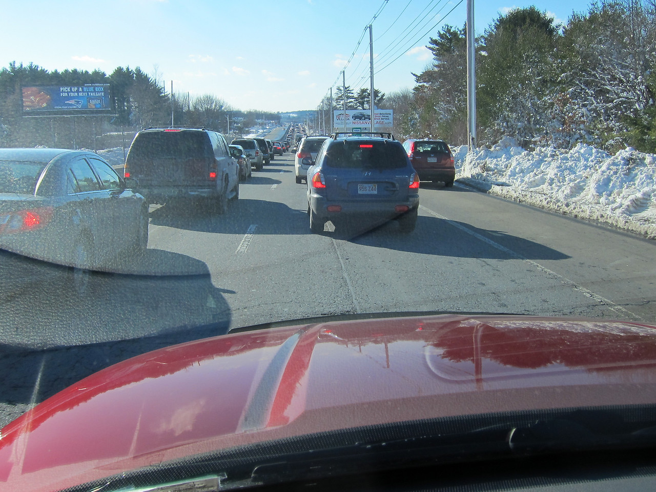 A long line of bumper-to-bumper traffic approaching Gillette Stadium - 16 January 2011