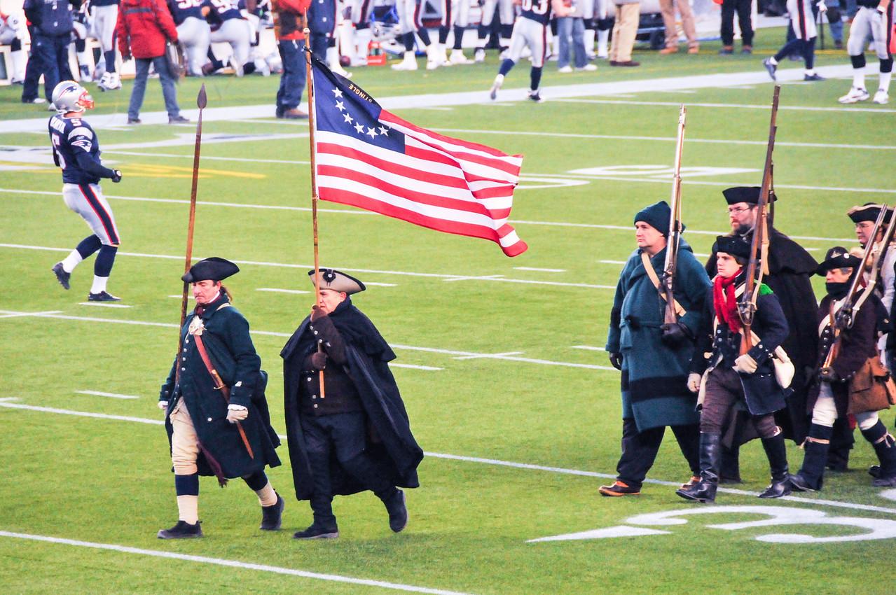 Preparing for National Anthem, Gillette Stadium - 16 January 2011