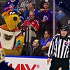 Lehigh Valley Phantoms mascot Melvin checking on Linesman Jeff Walker during the AHL All-Star Challenge at the War Memorial Arena in Syracuse, New York on Monday, February 1, 2016.