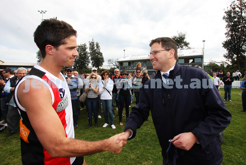17-9-11. AJAX  2nds defeat Ormond in the grand final at Trevor Barker Oval, Sandringham.  Matt Nissen receives best on ground medal. Photo: Peter Haskin