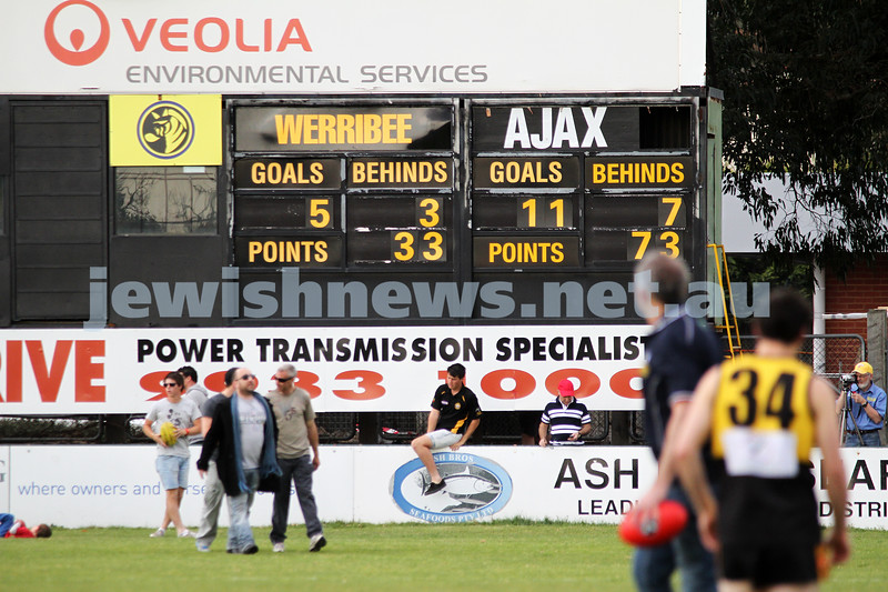 17-9-11. AJAX  defeats Werribee in the C Section grand final at Trevor Barker Oval, Sandringham.   Half time score. Photo: Peter Haskin