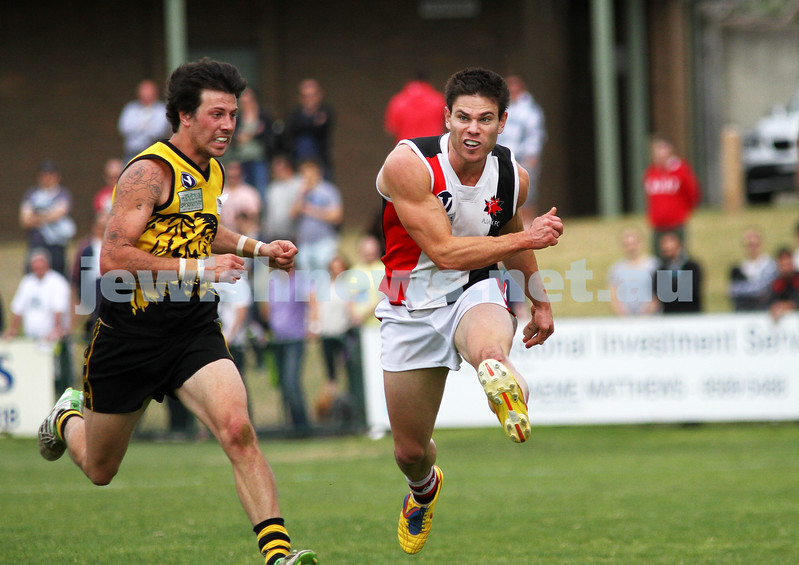 17-9-11. AJAX  defeats Werribee in the C Section grand final at Trevor Barker Oval, Sandringham. Michael Ritterman Medal winner, Eugene Routman. Photo: Peter Haskin
