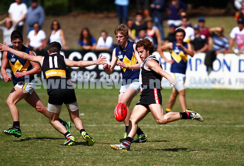 15-9-13. AJAX U 19 grand final versus Whitefriars at Trevor Barker Oval, Sandringham. AJAX were defreated by Whitefriars by 8 points in extra time. Scores were level at half time and full time. Adam Lerner. Photo: Peter Haskin