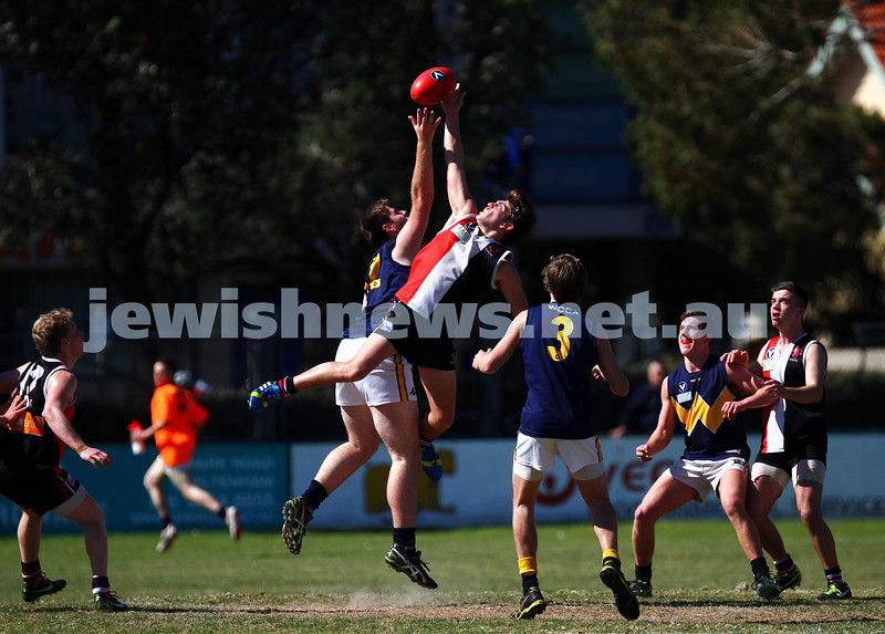 15-9-13. AJAX U 19 grand final versus Whitefriars at Trevor Barker Oval, Sandringham. AJAX were defreated by Whitefriars by 8 points in extra time. Scores were level at half time and full time. Brandon Joel in the ruck for AJAX. Photo: Peter Haskin