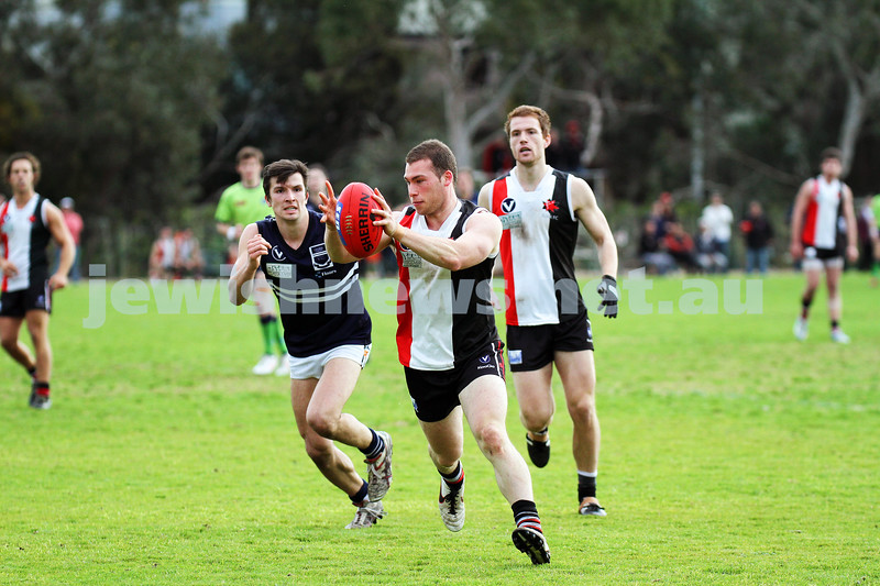 24-8-13. AJAX defeated Caulfield Grammarians by 73 points in the final match of the season.  Jason Tendler. Photo: Peter Haskin