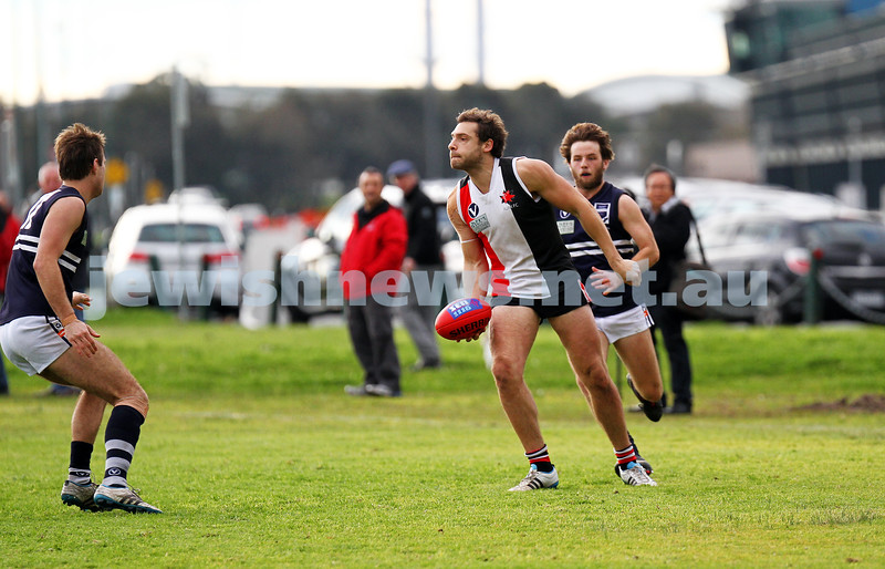 24-8-13. AJAX defeated Caulfield Grammarians by 73 points in the final match of the season.  Jason Seidl. Photo: Peter Haskin