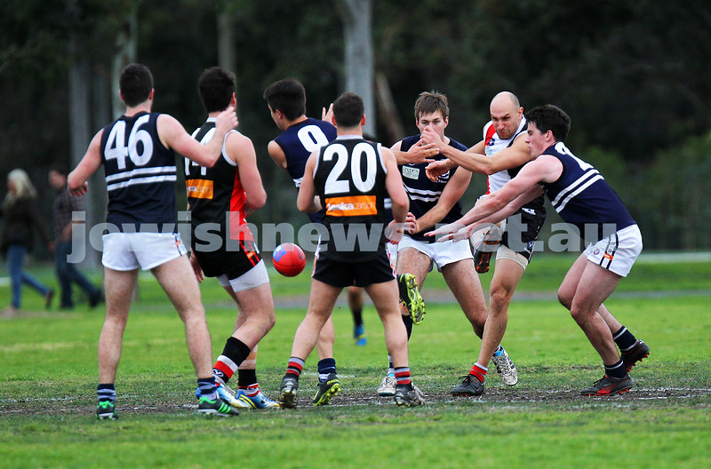 24-8-13. AJAX defeated Caulfield Grammarians by 73 points in the final match of the season.  Ezra Poyas. Photo: Peter Haskin