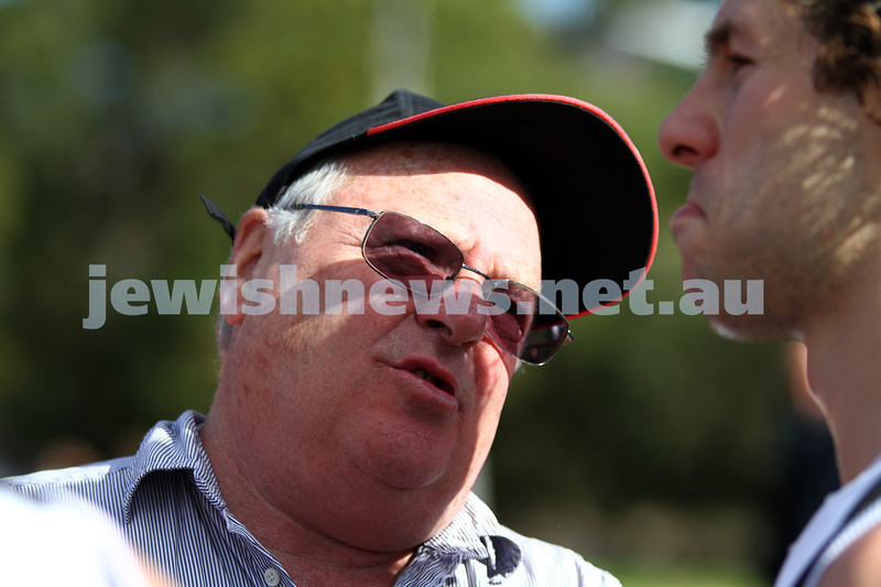 27-8-11. AJAX v Old Essendon. Coach Bernie Shehy and Gary Bleiden. Photo: Peter Haskin