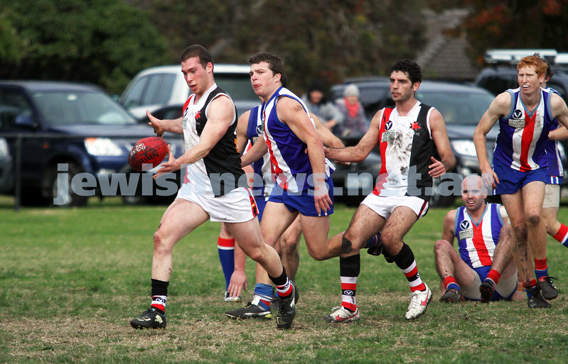 AJAX v Oakleigh. 26-5-12.  Jason Tendler snaps for goal. Photo: Peter Haskin