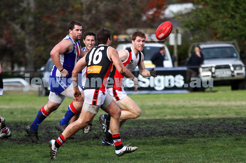 AJAX v Oakleigh. 26-5-12. Jake Lew about to receive posession. Photo: Peter Haskin