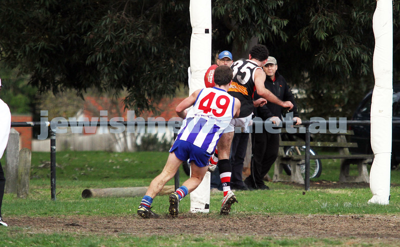 AJAX v Oakleigh. 26-5-12.  Corey Janke snapping a goal. Photo: Peter Haskin