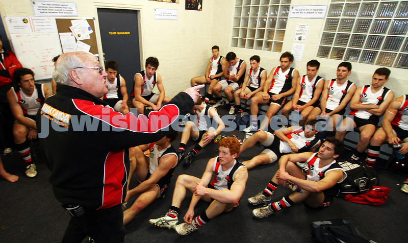 10-9-11. Ajax V Old Camberwell, Preliminary Final. Coach Bernie Sheehy addresses the players after the match. Photo: Peter Haskin