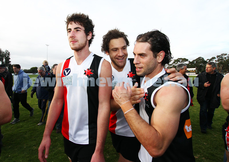 10-9-11. Ajax V Old Camberwell, Preliminary Final. Celebrating their huge win. Photo: Peter Haskin