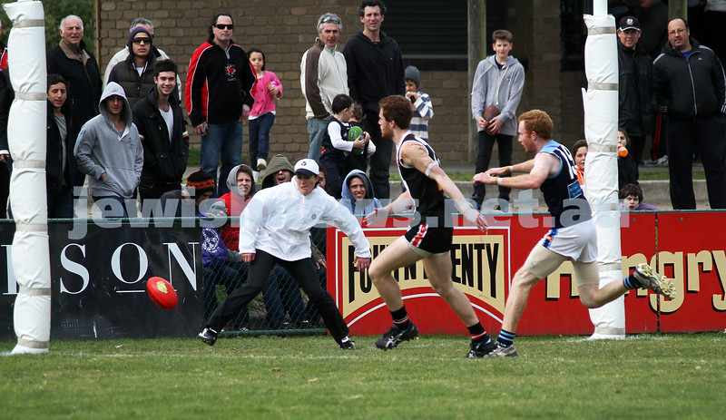 10-9-11. Ajax V Old Camberwell, Preliminary Final. Jake Lew heading into an open goal. Photo: Peter Haskin