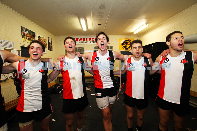 10-9-11. Ajax V Old Camberwell, Preliminary Final. Singing the club song. Photo: Peter Haskin