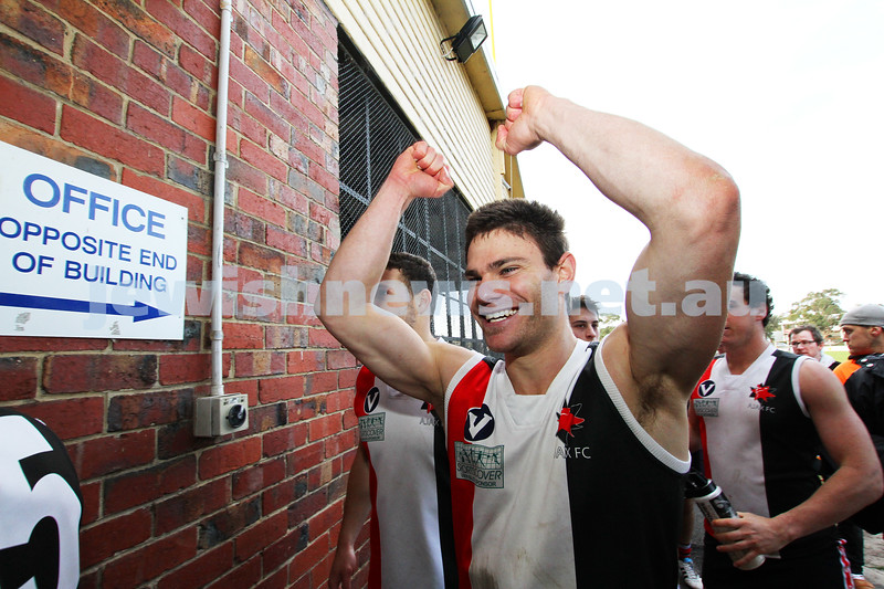 10-9-11. Ajax V Old Camberwell, Preliminary Final. Eugene Routman celebrates the win. Photo: Peter Haskin