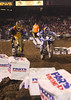 "Racers from around the world converged on Angel Stadium in Anaheim California on January 3, 2009 for the opener of the 2009 Monster Energy AMA Supercross series.  Reigning champion Chad Reed (#1) battled with James ""Bubba"" Stewart (#7) until they collided in lap 6, opening the door for first-timer Josh Grant to take the win."