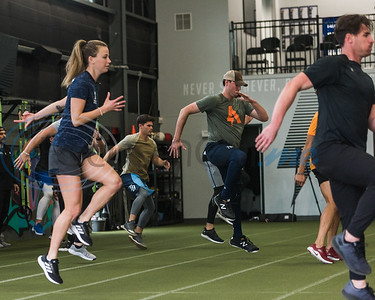 Professional athletes run a workout drills during APEC MLB/Pro Media day Thursday, Jan. 23, 2020, in Tyler. (Cara Campbell/Tyler Morning Telegraph)