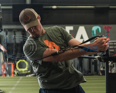 Former Hawkins standout Derek Craft, pitcher for the New York Yankees, works out his shoulders during APEC MLB/Pro Media day Thursday, Jan. 23, 2020, in Tyler. (Cara Campbell/Tyler Morning Telegraph)