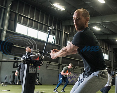 Former Whitehouse standout Josh Tomlin, MLB free agent,  works out his shoulders during APEC MLB/Pro Media day Thursday, Jan. 23, 2020, in Tyler. (Cara Campbell/Tyler Morning Telegraph)