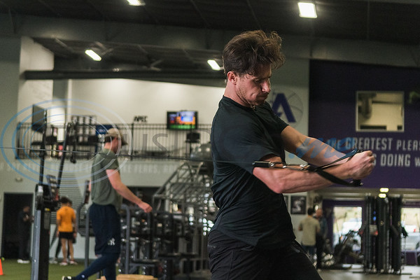 Former Bullard High School standout Nick Rumbelow, pitcher for the New York Mets, works out his shoulders during APEC MLB/Pro Media day Thursday, Jan. 23, 2020, in Tyler. (Cara Campbell/Tyler Morning Telegraph)