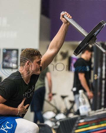 Former Tyler Junior College stand out Jace Vines, pitcher for the Kansas City Royals, lifts weights during APEC MLB/Pro Media day Thursday, Jan. 23, 2020, in Tyler. (Cara Campbell/Tyler Morning Telegraph)