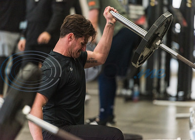 Former Bullard High School standout Nick Rumbelow, pitcher for the New York Mets, lifts weights during APEC MLB/Pro Media day Thursday, Jan. 23, 2020, in Tyler. (Cara Campbell/Tyler Morning Telegraph)