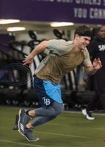 Former Whitehouse standout Mason Mallard, outfielder for the Tampa Bay Rays organization, runs an agility work out drill during APEC MLB/Pro Media day Thursday, Jan. 23, 2020, in Tyler. (Cara Campbell/Tyler Morning Telegraph)