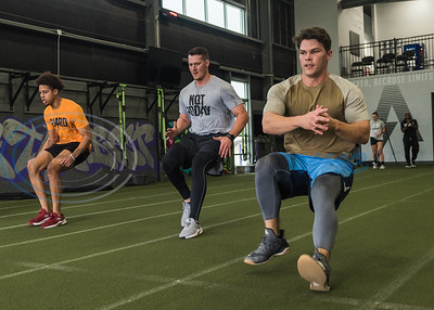 Former Whitehouse standout Mason Mallard, outfielder for the Tampa Bay Rays organization, (right) runs a work out drill during APEC MLB/Pro Media day Thursday, Jan. 23, 2020, in Tyler. (Cara Campbell/Tyler Morning Telegraph)