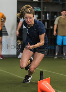 Chestley Strother, soccer player for the Utah Royals of the  National Women's Soccer League (NWSL), runs an agility work out drill during APEC MLB/Pro Media day Thursday, Jan. 23, 2020, in Tyler. (Cara Campbell/Tyler Morning Telegraph)